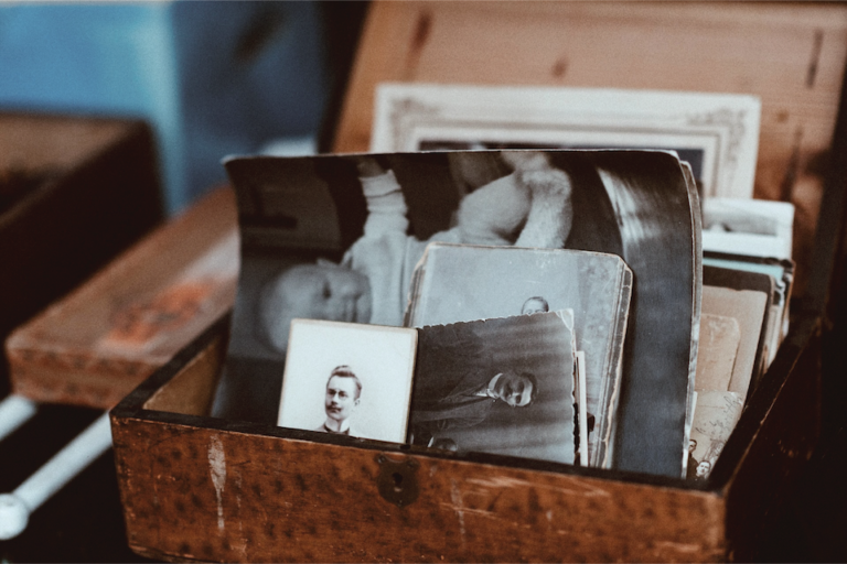 Photo of a box of old photos