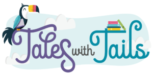 tales with tails summer reading logo with bird and books